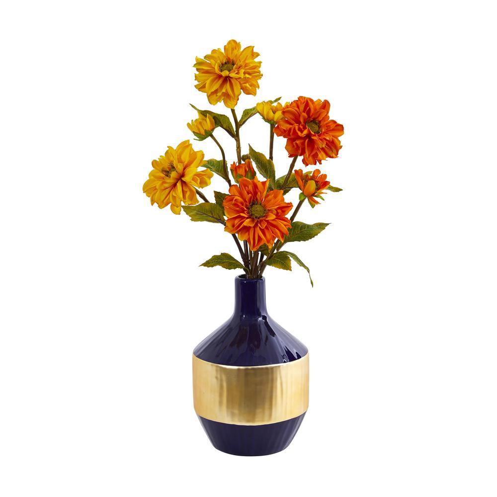 22 in. H Zinnia Artificial Arrangement in Blue and Gold Designer Vase