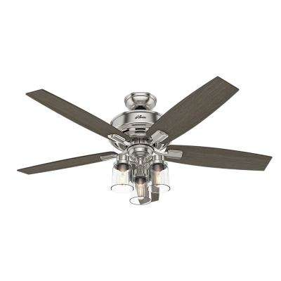 Bennett 52 in. LED Indoor Brushed Nickel Ceiling Fan with 3-Light Kit and Handheld Remote Control