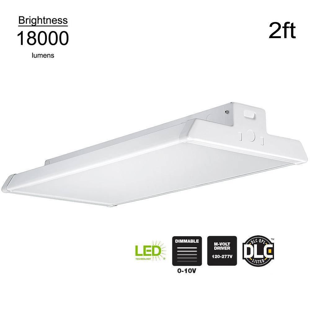 Commercial Electric 2 ft. 400-Watt Equivalent Integrated LED Dimmable White High Bay Light High Output 18,000 Lumens 5000K Daylight