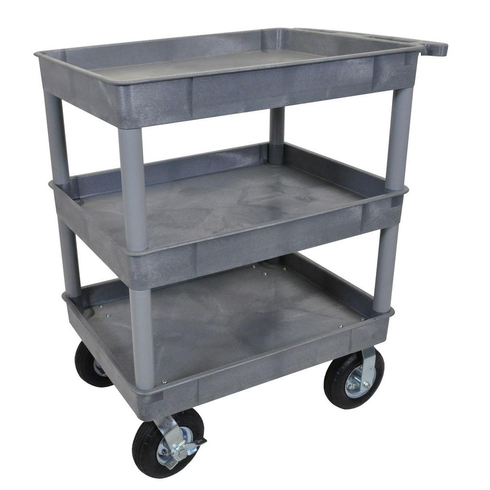 Luxor Luxor 24 in. x 32 in. 3-Tub Shelf Plastic Utility Cart with 8 in. Pneumatic Casters, Gray