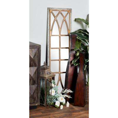 Rectangular Distressed Gray Decorative Wall Mirror with Window-Inspired Brown Panel Frame Overlay