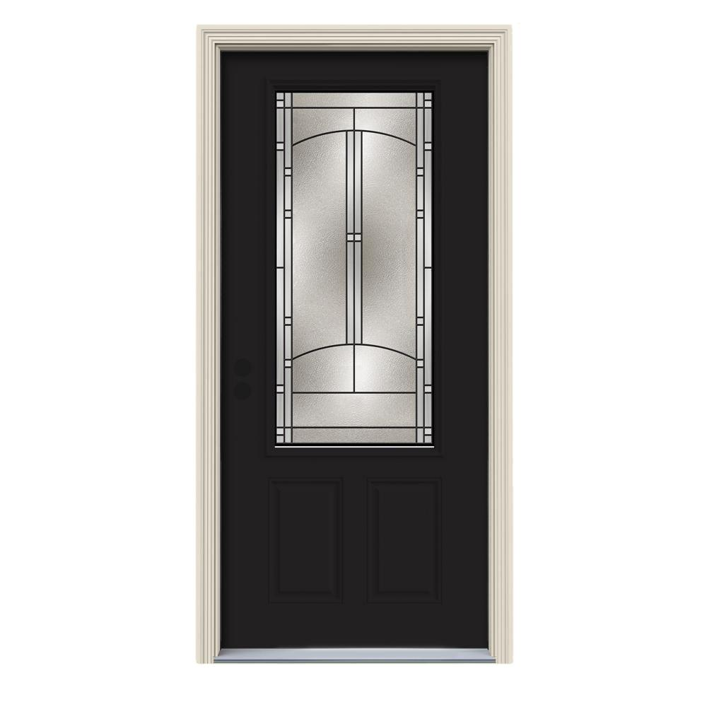 Jeld Wen 34 In X 80 In 34 Lite Idlewild Black W White Interior