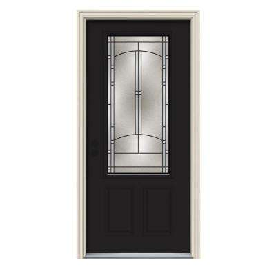 36 in. x 80 in. 3/4 Lite Idlewild Black Painted Steel Prehung Right-Hand Inswing Front Door w/Brickmould