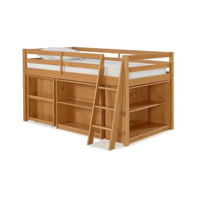 Roxy Cinnamon Wood Twin Junior Loft Bed with Pull-out Desk, Shelving and Bookcase