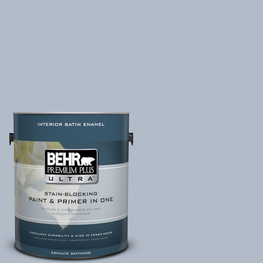 BEHR Premium Plus Ultra 1-Gal. #PPU14-12 Hazy Skies Satin Enamel Interior Paint