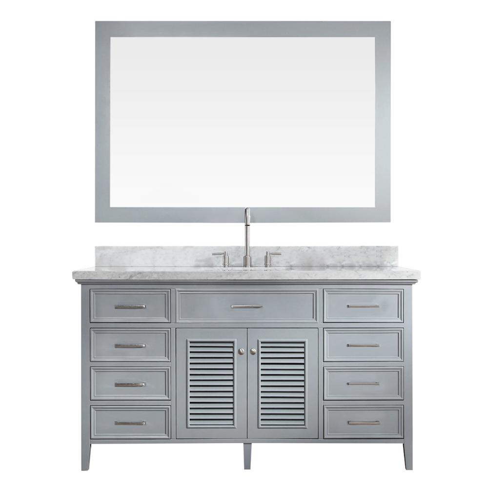 Kensington 61 in. Bath Vanity in Grey with Marble Vanity Top