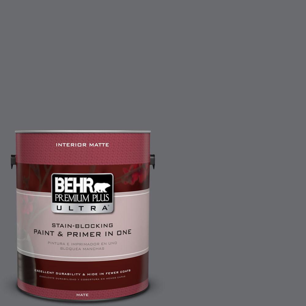 BEHR Premium Plus Ultra 1 gal. #PPF-49 Platinum Gray Flat/Matte Interior Paint