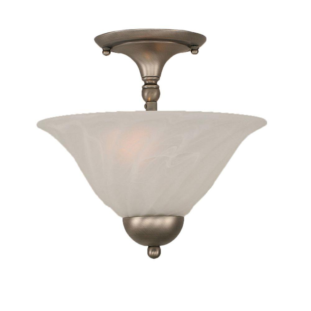 Concord 2-Light Brushed Nickel Ceiling Semi-Flush Mount Light