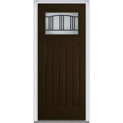 36 in. x 80 in. Madison Right-Hand Craftsman 1/4 Lite 3-Panel Classic Primed Fiberglass Smooth Prehung Front Door