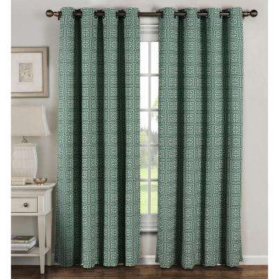 Semi-Opaque Greek Key Cotton Blend Extra Wide 84 in. L Grommet Curtain Panel Pair, Teal (Set of 2)