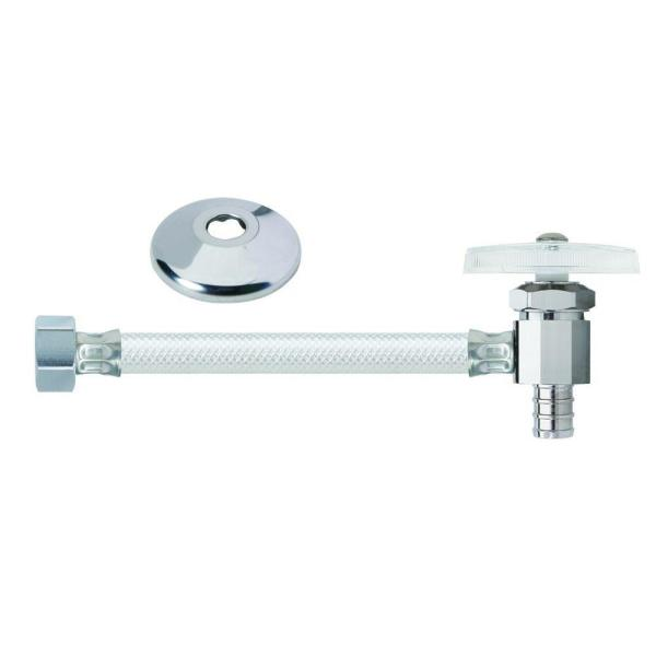 1/2 in. Crimp PEX Barb x 1/2 in. FIP x 12 in. Multi-Turn One-Piece Vinyl Faucet Water Supply Line with Flange