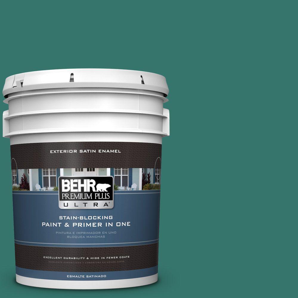 BEHR Premium Plus Ultra 5-gal. #490D-7 Greensleeves Satin Enamel Exterior Paint