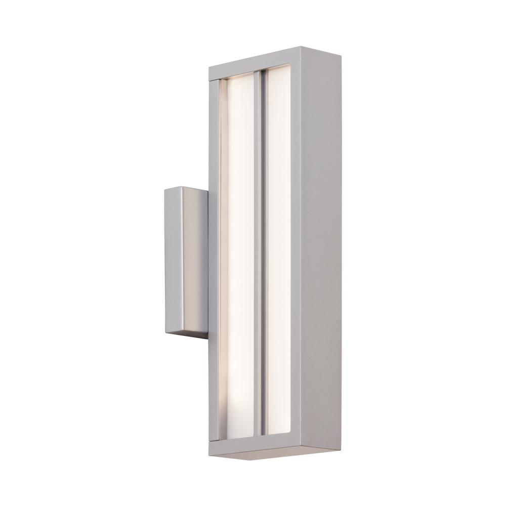 Aviva 1-Light Silver Outdoor Integrated LED Wall Mount Sconce