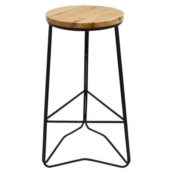 THREE HANDS 27.5 in. Wood and Metal Bar Stool