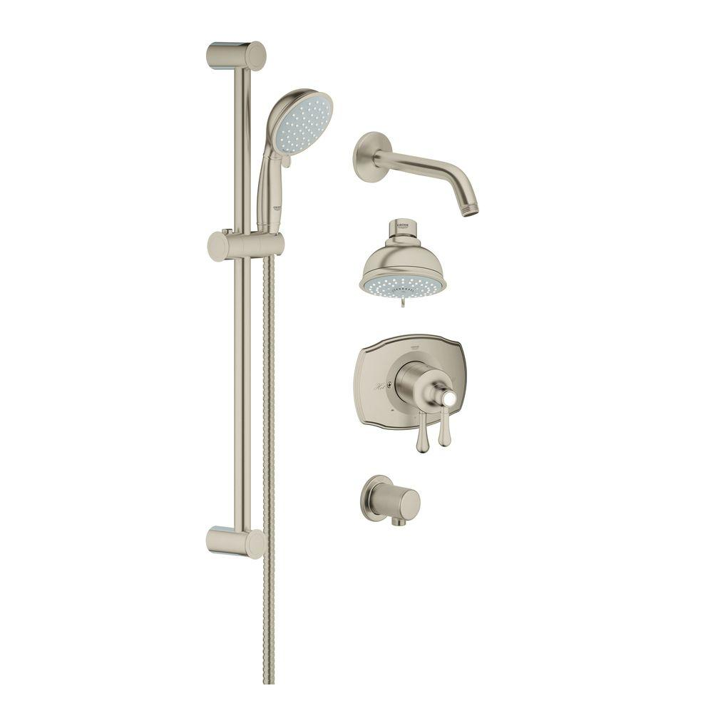 brushed nickel shower system. Retrofit Shower System In Brushed Nickel InfinityFinish The Home Depot