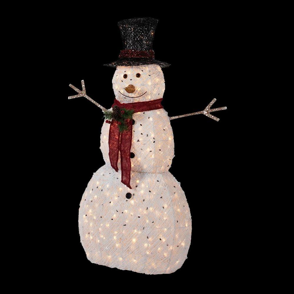 Home Accents Holiday 5 Ft Pre Lit Snowman With Hat Ty314 1411 1 The Home Depot