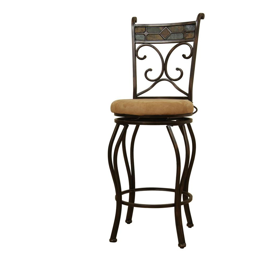 Boraam Beau 29 in. Black/Bronze Swivel Cushioned Bar Stool