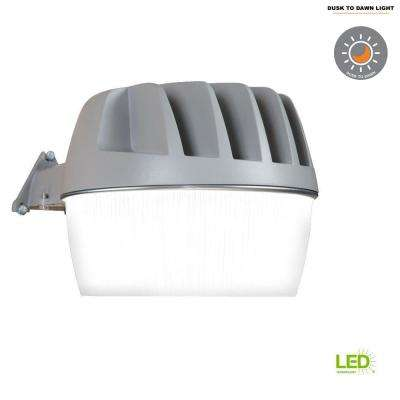 Gray Outdoor Integrated LED Area Dusk to Dawn Security Light with Built-in Photocell at 3300 Lumens, 5000K Daylight