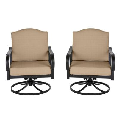 Laurel Oaks Brown Steel Outdoor Patio Lounge Chair with Cushion Guard Toffee Solid Cushions (2-Pack)