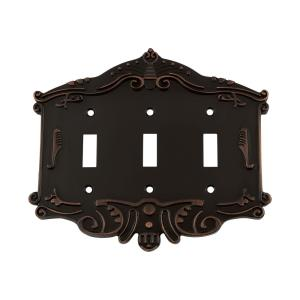 Nostalgic Warehouse Victorian Switch Plate with Triple Toggle in Timeless Bronze by Nostalgic Warehouse