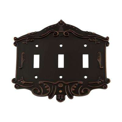 Victorian Switch Plate with Triple Toggle in Timeless Bronze