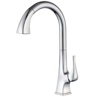 Single-Handle Pull-Down Sprayer Kitchen Faucet with 2-Function Spray Head in Chrome