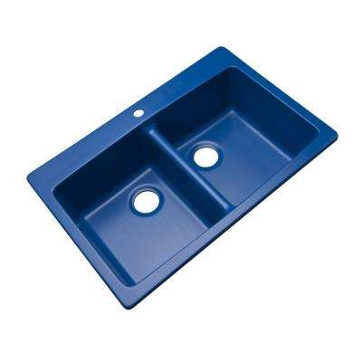 Waterbrook Dual Mount Composite Granite 33 in. 1-Hole Double Bowl Kitchen Sink in Cobalt