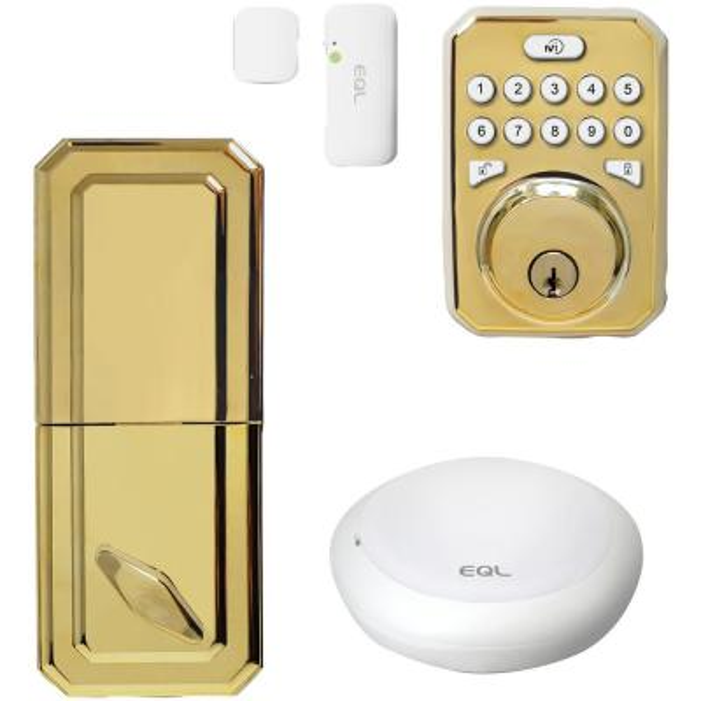MiEQ Smart HUB Polished Brass Single-Cylinder Deadbolt Lock with Door Sensor Combo Kit