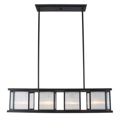 Henessy 4-Light Black and Brushed Nickel Linear Pendant with Reeded Glass