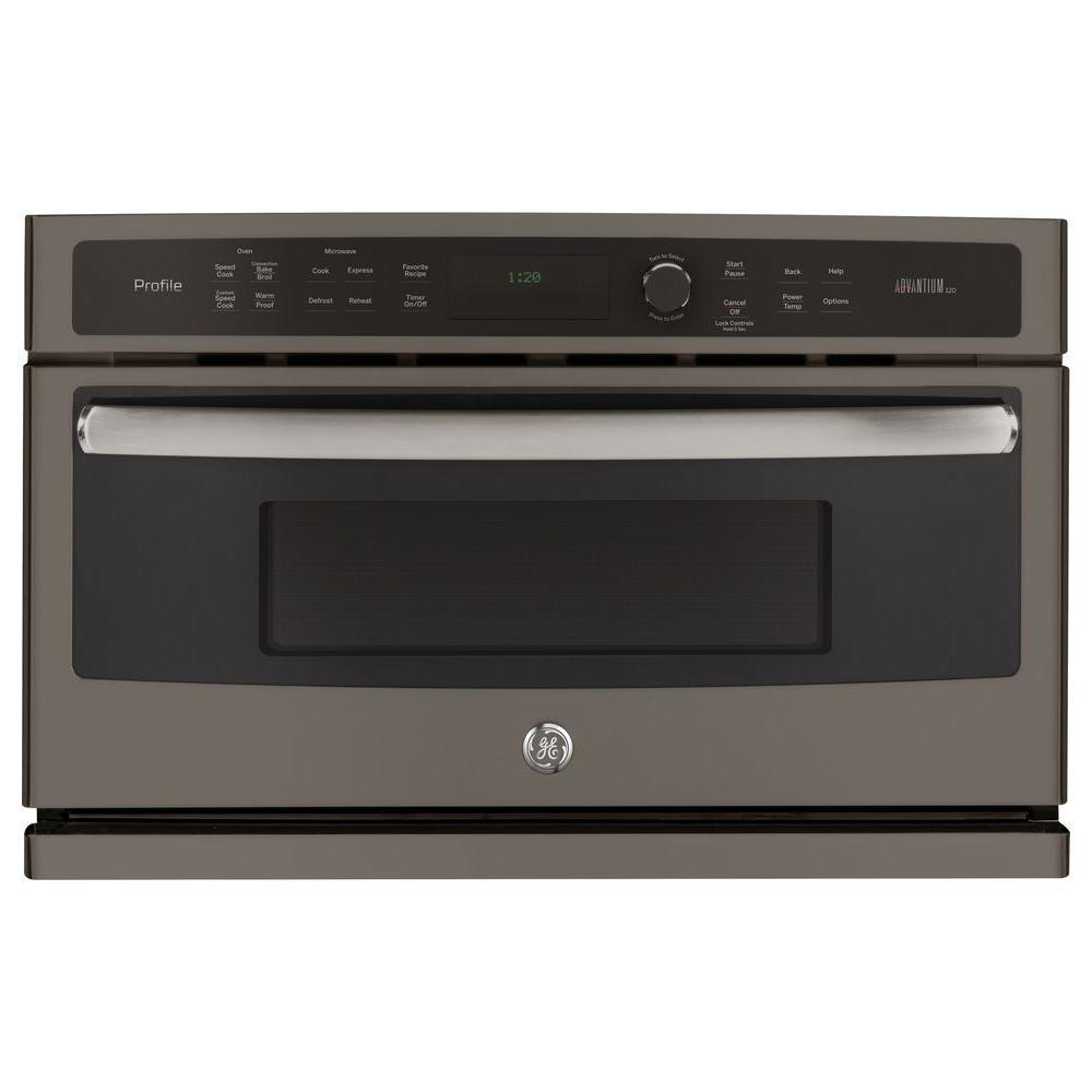 GE Profile 30 in. Single Electric Wall Oven with Advantium Technology in Slate, Fingerprint Resistant
