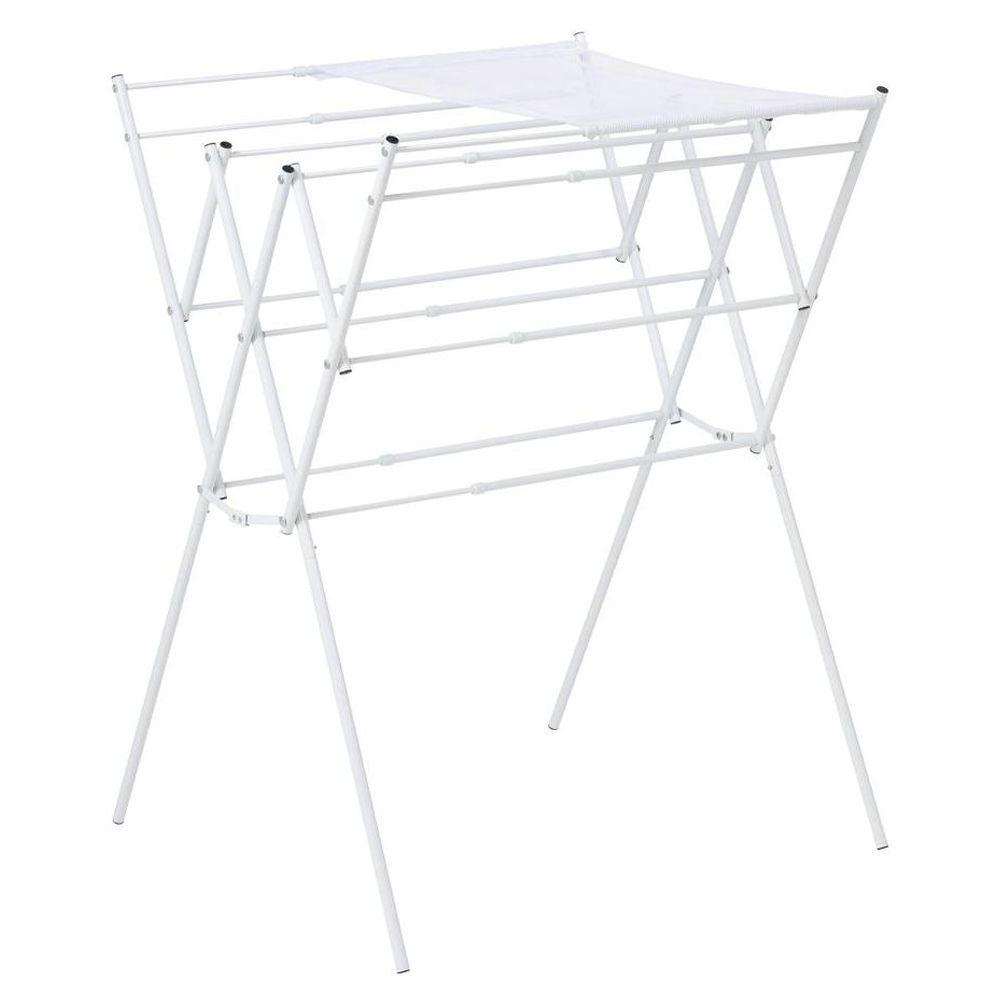 Honey-Can-Do Expandable White Drying Rack with Mesh Shelf