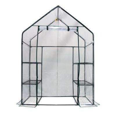 56 in. W x 29 in. D Deluxe Walk-In 3-Tier 6 Shelf Portable Greenhouse