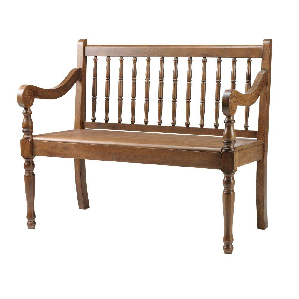Home Decorators Collection Savannah Oak 40 in. W Heritage Bench