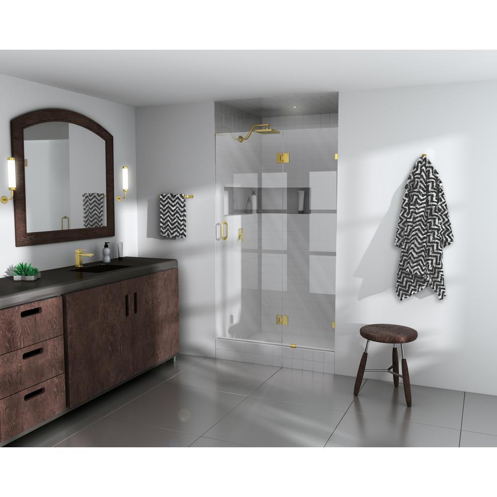 34 in. x 78 in. Frameless Pivot Glass Hinged Shower Door in Satin Brass