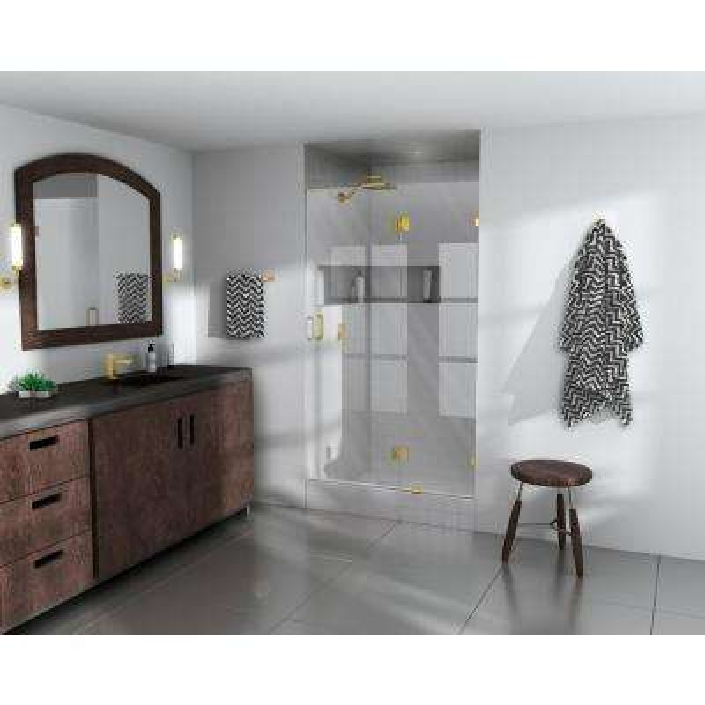37 in. x 78 in. Frameless Pivot Glass Hinged Shower Door in Satin Brass
