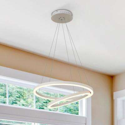 Tania Duo Round 24 in. 60-Watt White Integrated LED Chandelier