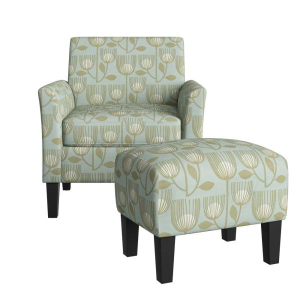 Mimi Rose Half Round Sky Blue Modern Tulip Print Arm Chair and Ottoman Set