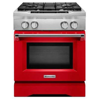 4.1 cu. ft. Dual Fuel Commercial-Style Range with Convection Oven in Signature Red