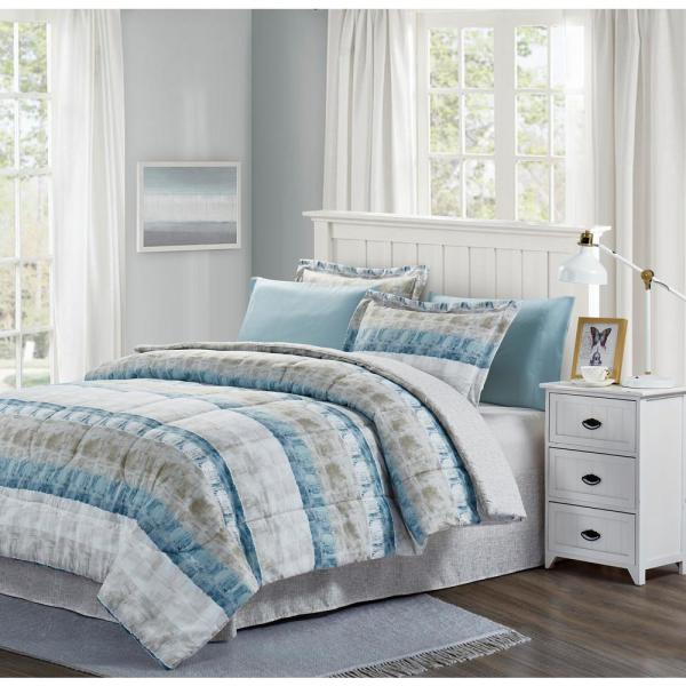 Brown & Grey Raphael Steel Twin 6-Piece Bed-In-Bag Set BG16RFST1