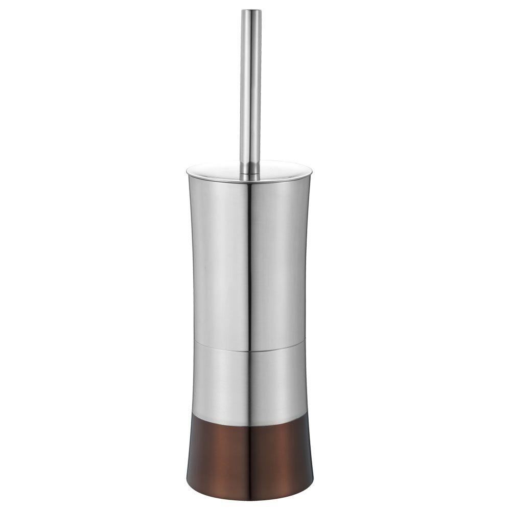 Hopeful Shiny Colorblock Toilet Brush And Holder In Brown