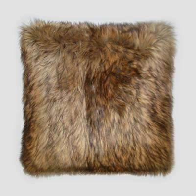 Gold Wolf Feather Down 20 in. x 20 in. Standard Decorative Throw Pillow