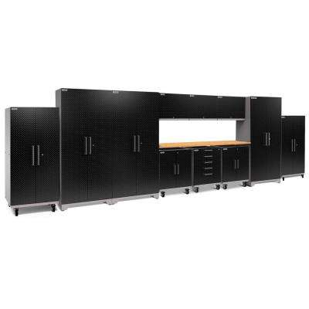 Performance Plus Diamond Plate 2.0 80 in. H x 253 in. W x 24 in. D Garage Cabinet Set in Black (12-Piece)