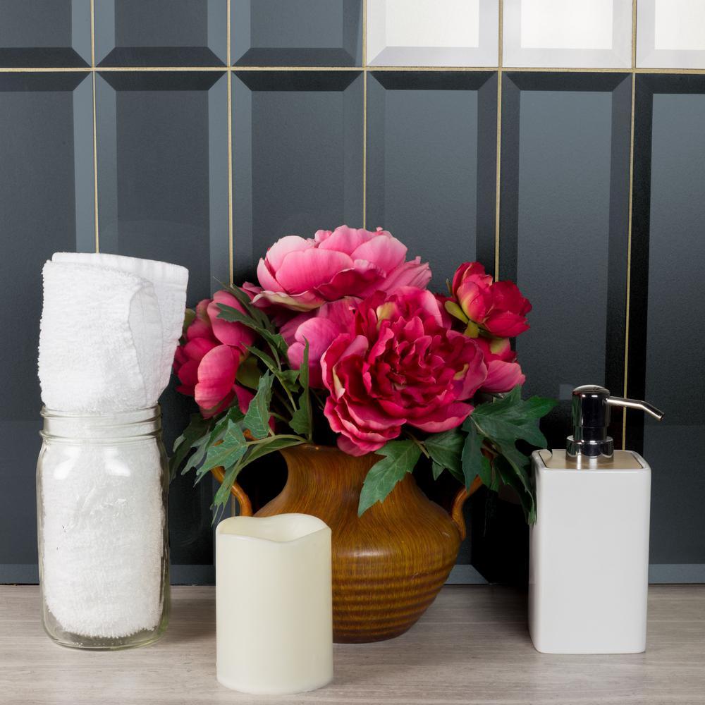 "Subway 4"" x 16"" Metallic Blue Gray Beveled Glossy Glass Peel & Stick Decorative Bathroom Wall Tile Backsplash (9 Pk)"