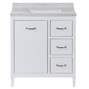 Marrett 30.5 in. W x 18.75 in. D Bath Vanity in White with Solid Surface Vanity Top in Silver Ash with White Sink