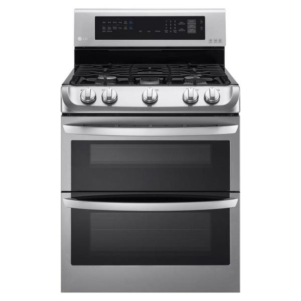 LG Electronics 6.9 cu. ft. Double Oven Gas Range with ProBake Convection Oven, Self Clean and EasyClean in Stainless Steel