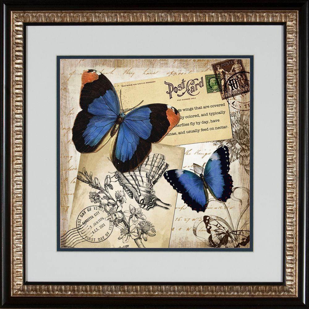 """null 19 in. x 19 in. """"Graceful Blues B"""" Framed Wall Art"""