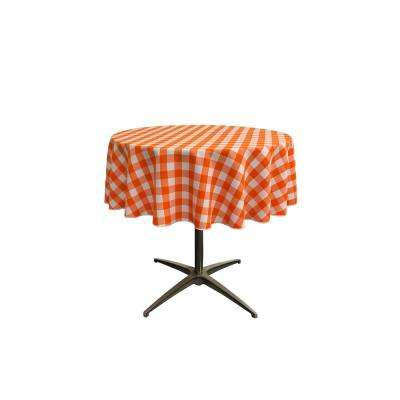 51 in. White and Orange Polyester Gingham Checkered Round Tablecloth