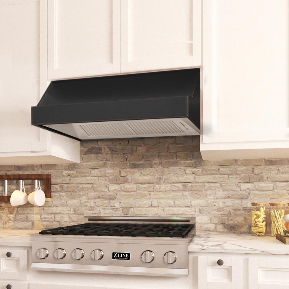 Zline Kitchen And Bath 48 In 1200 Cfm Under Cabinet Range Hood In Oil Rubbed Bronze With Copper Accents 8685b 48 The Home Depot