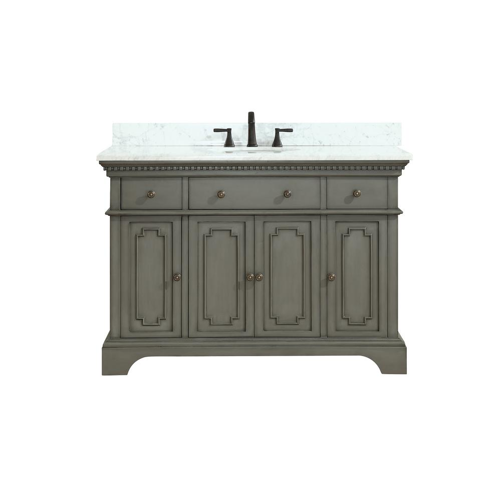 Azzuri Hastings 49 in. W x 22 in. D x 35 in. H Vanity in French Gray with Marble Vanity Top in Carrera White with Basin