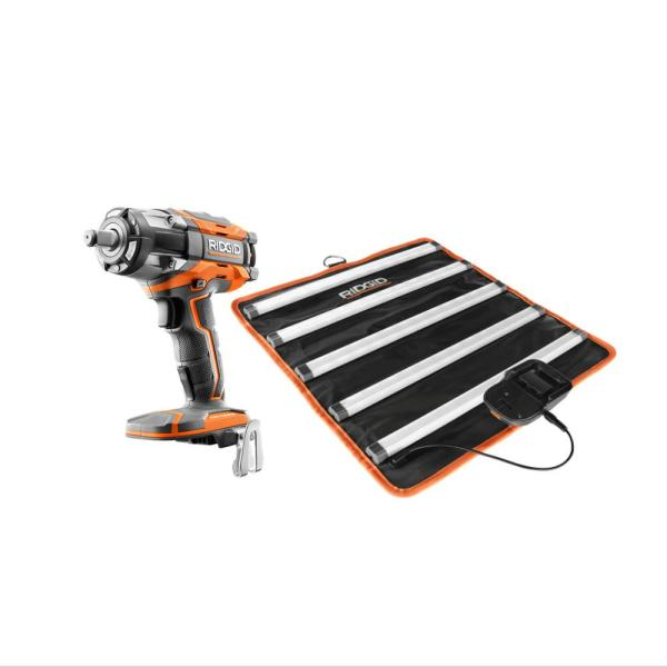 18-Volt Lithium-Ion Brushless Cordless OCTANE 1/2 in. Impact Wrench and LED Mat Light Kit (Tools Only)